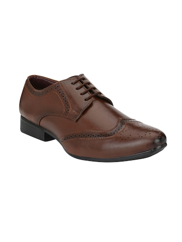 brown leatherette lace-up derby - 14908067 - Standard Image - 1