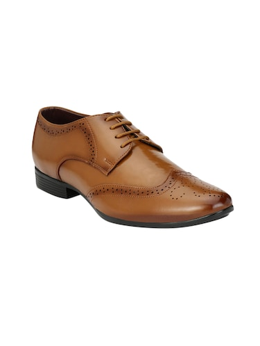 tan leatherette lace-up derby - 14908068 - Standard Image - 1