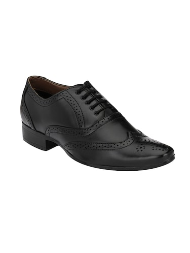 black leatherette lace-up brouge - 14908069 - Standard Image - 1