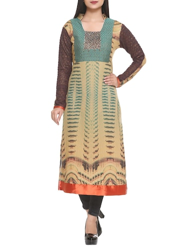 beige cotton blend straight kurta - 14908237 - Standard Image - 1