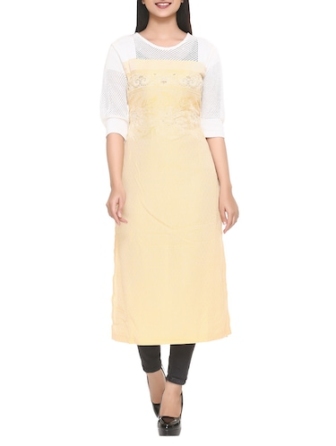 yellow cotton blend straight kurta - 14908240 - Standard Image - 1