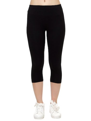 black cotton capri legging - 14909300 - Standard Image - 1