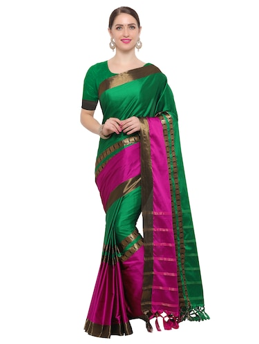 Color block bordered saree with blouse - 14909527 - Standard Image - 1