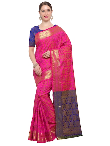 Zari bordered woven saree with blouse - 14909550 - Standard Image - 1