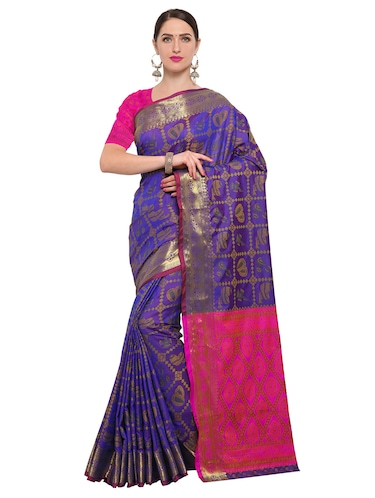 blue silk blend woven saree with blouse - 14909556 - Standard Image - 1