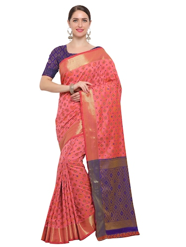 Zari bordered woven saree with blouse - 14909564 - Standard Image - 1