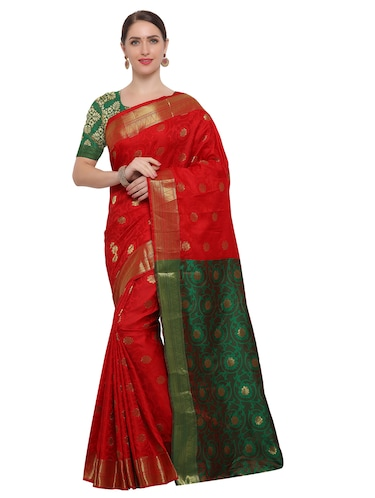 Zari floral woven saree with blouse - 14909574 - Standard Image - 1