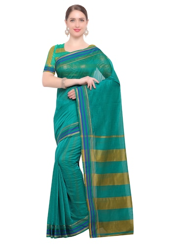Stripes bordered chanderi saree with blouse - 14909576 - Standard Image - 1