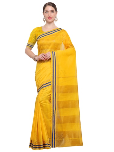Stripes bordered chanderi saree with blouse - 14909578 - Standard Image - 1