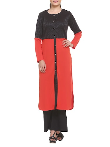 red cotton blend straight kurta - 14910043 - Standard Image - 1
