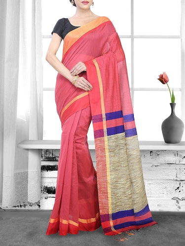 peach cotton handloom saree - 14910118 - Standard Image - 1