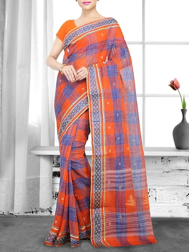 orange handloom saree - 14910143 - Standard Image - 1