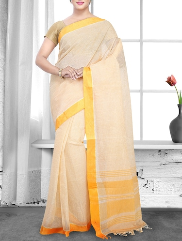 beige cotton handloom saree - 14910162 - Standard Image - 1
