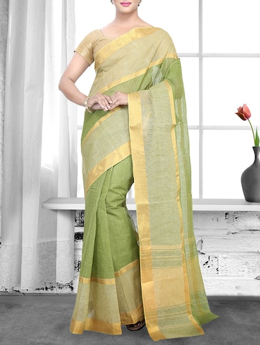 green cotton handloom saree - 14910176 - Standard Image - 1