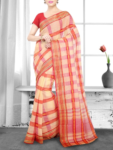 orange cotton handloom saree - 14910184 - Standard Image - 1