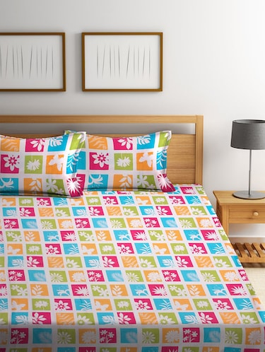 Cotton 180 TC Cotton Bedsheet with 2 pillow covers - 14910503 - Standard Image - 1