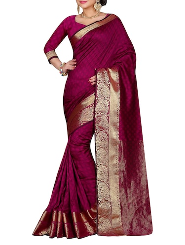 magenta cotton silk woven saree with blouse - 14910624 - Standard Image - 1