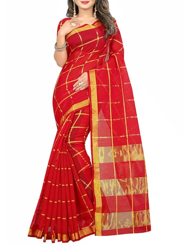red cotton silk woven saree with blouse - 14910629 - Standard Image - 1
