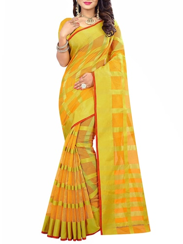 yellow cotton silk woven saree with blouse - 14910639 - Standard Image - 1