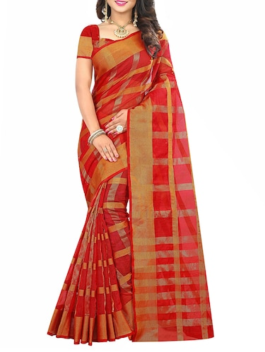 red cotton silk woven saree with blouse - 14910640 - Standard Image - 1