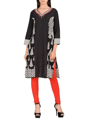 black cotton straight kurta - 14911400 - Standard Image - 1