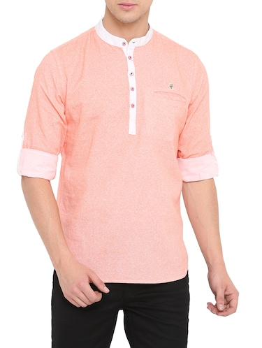 pink cotton short kurta - 14911880 - Standard Image - 1