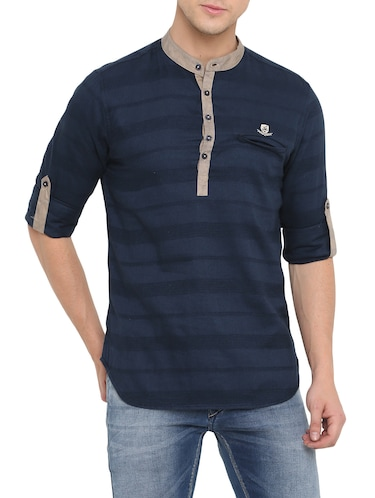 navy blue cotton short kurta - 14911883 - Standard Image - 1