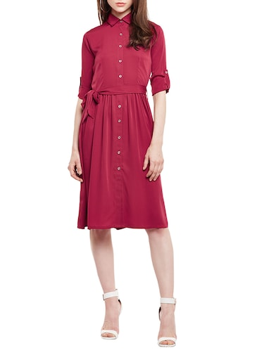pink solid shirt dress - 14912060 - Standard Image - 1