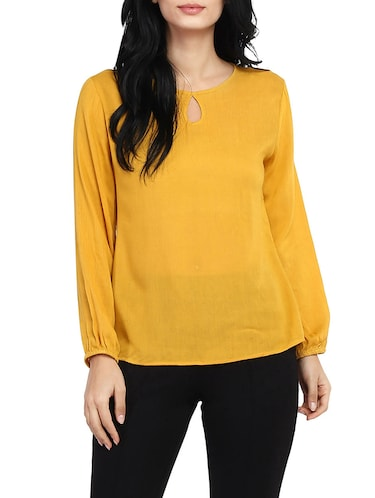 solid yellow full sleeved top - 14912492 - Standard Image - 1