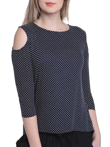 dark blue polka dotted top - 14912495 - Standard Image - 1