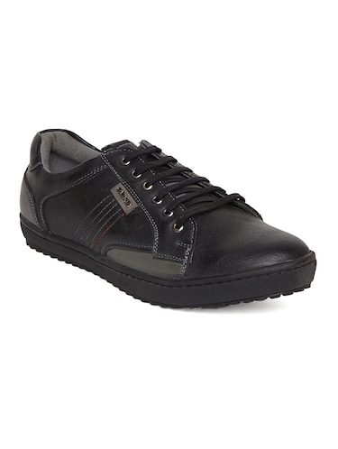 black leatherette lace up sneaker - 14912581 - Standard Image - 1