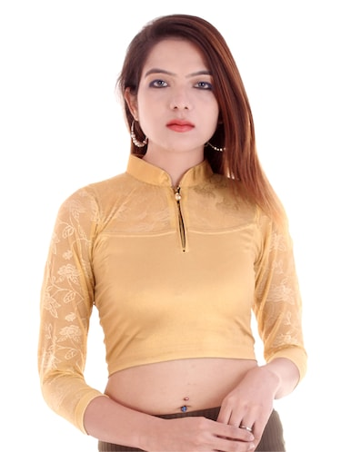 yellow cotton lycra embroidered blouse - 14912923 - Standard Image - 1