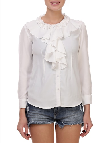 white solid ruffle top - 14914788 - Standard Image - 1
