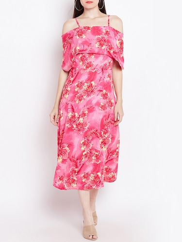 pink printed a-line dress - 14914973 - Standard Image - 1