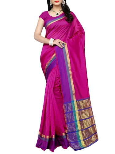 pink cotton silk bordered saree with blouse - 14915183 - Standard Image - 1