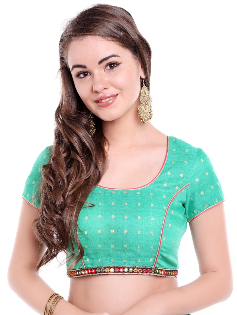 50235c4fab431 Buy Green Art Silk Woven Blouse for Women from Arch Element for ...