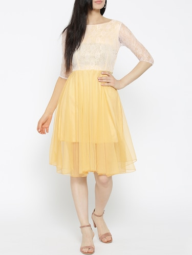 solid yellow fit & flare dress - 14915985 - Standard Image - 1