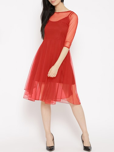 solid red fit & flare dress - 14915987 - Standard Image - 1