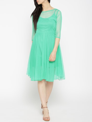 solid green fit & flare dress - 14915992 - Standard Image - 1