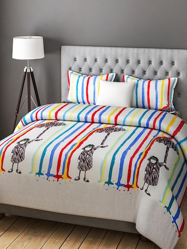 COTTON DOUBLE BEDSHEET WITH 2 PILLOW COVERS - 14916134 - Standard Image - 1