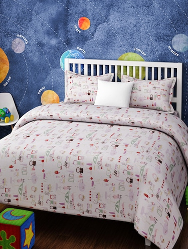 CARTOON PRINT DOUBLE BEDSHEET WITH 2 PILLOW COVERS - 14916212 - Standard Image - 1