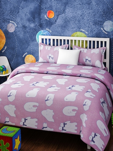 CARTOON PRINT DOUBLE BEDSHEET WITH 2 PILLOW COVERS - 14916217 - Standard Image - 1