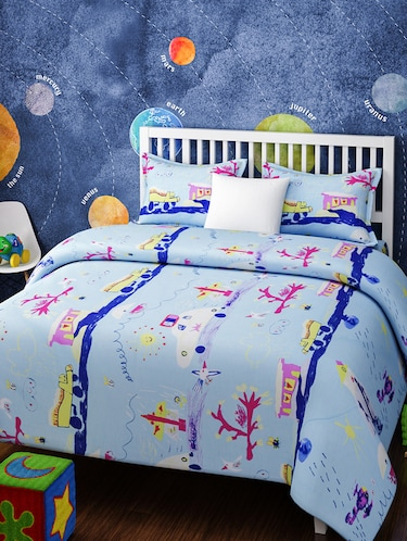 CARTOON PRINT DOUBLE BEDSHEET WITH 2 PILLOW COVERS - 14916224 - Standard Image - 1