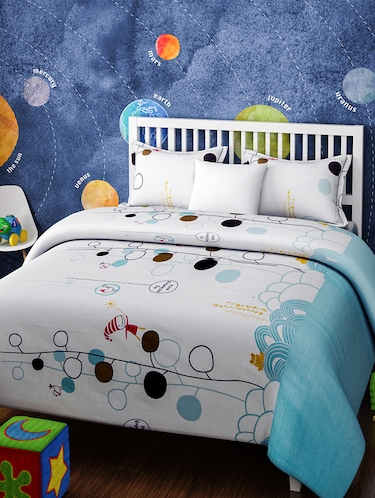 KIDS FAIRYLAND WHITE AND BLUE BEDSHEET SET - 14916231 - Standard Image - 1