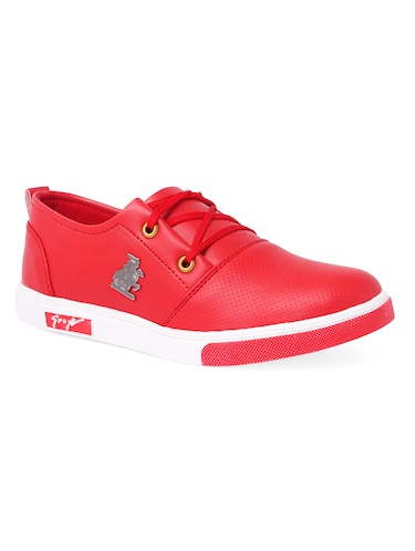 red leatherette lace up sneaker - 14916580 - Standard Image - 1