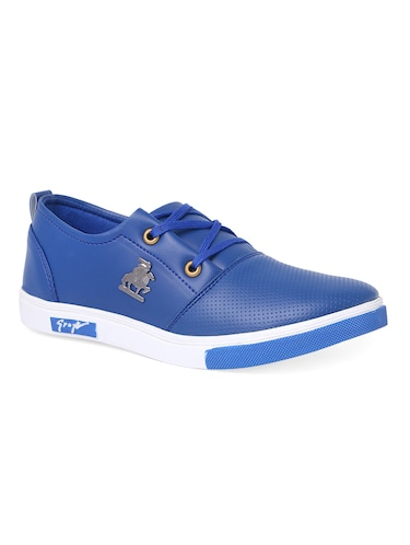 blue leatherette lace up sneaker - 14916591 - Standard Image - 1