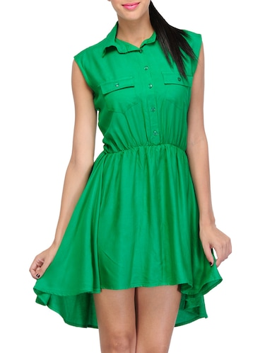 green solid asymmetrical dress - 14917230 - Standard Image - 1