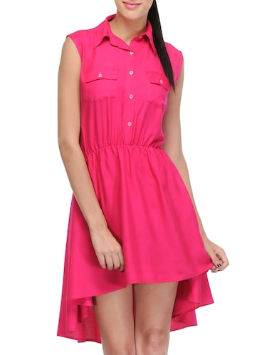 pink solid asymmetrical dress - 14917231 - Standard Image - 1