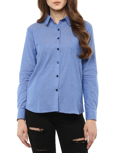 blue cotton solid shirt - 14917277 - Standard Image - 1