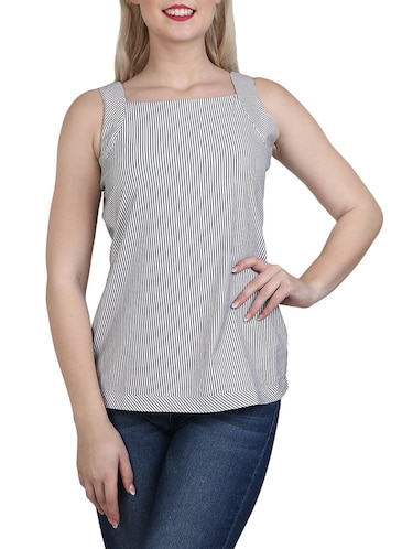 grey striped cotton top - 14918628 - Standard Image - 1